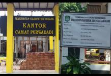 Diduga Pekerjaan Kantor Kecamatan Purwadadi Menyimpang