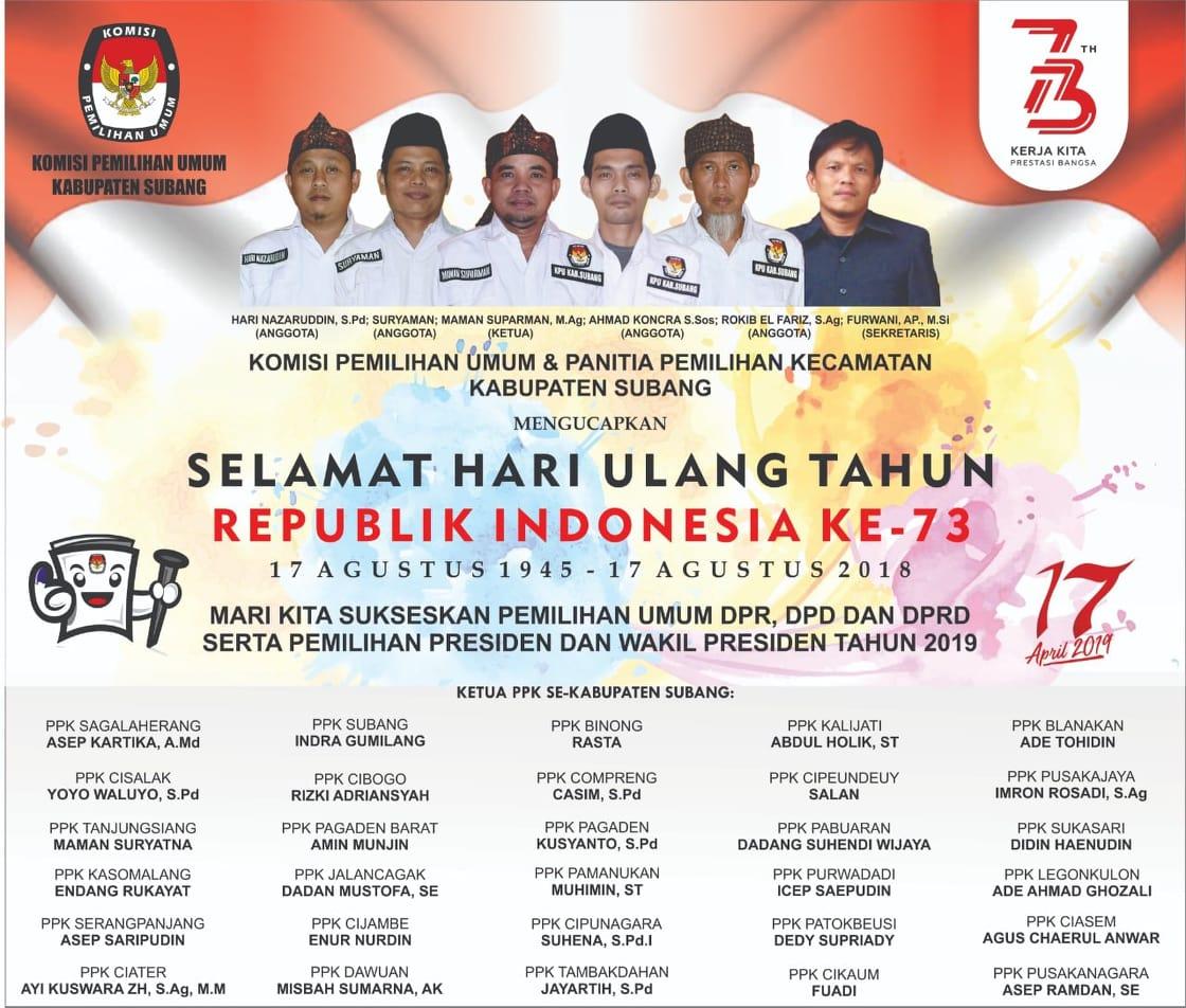 KPU Subang (Selamat HUT RI ke-73)